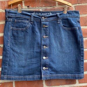 Old Navy Button Down Jean Skirt Dark Blue